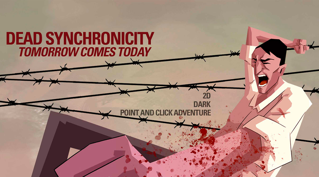 Dead Synchronicity: Tomorrow Comes Today, video game, box art, title, Michael, barbed wire, blood, scream