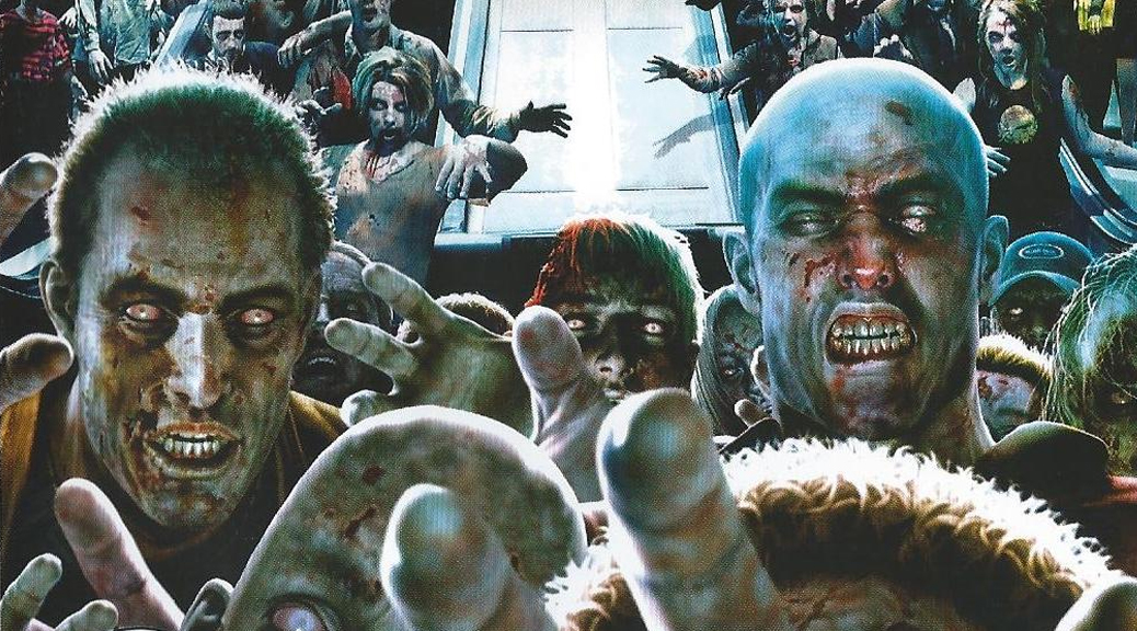 Dead Rising, video game, box art, zombies, shopping mall, elevator, escalator