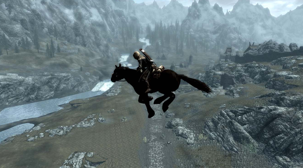 The Elder Scrolls, Skyrim, video game, mountains, horse, flying, glitch