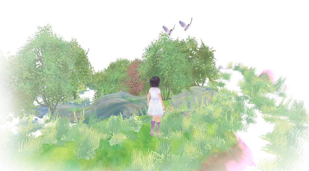 Beyond Eyes, video game, Rae, birds, trees, watercolour