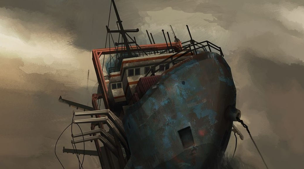 Monstrum, video game, box art, ship, boat