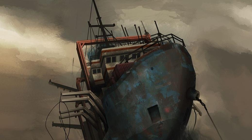 Monstrum, video game, box art, ship, boat