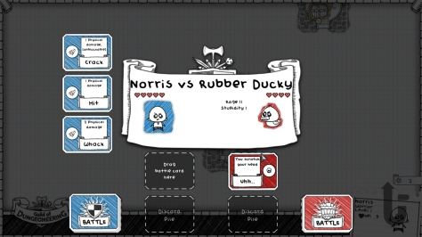 Guild of Dungeoneering, video game, card game, Norris, Rubber Ducky, fight, stats