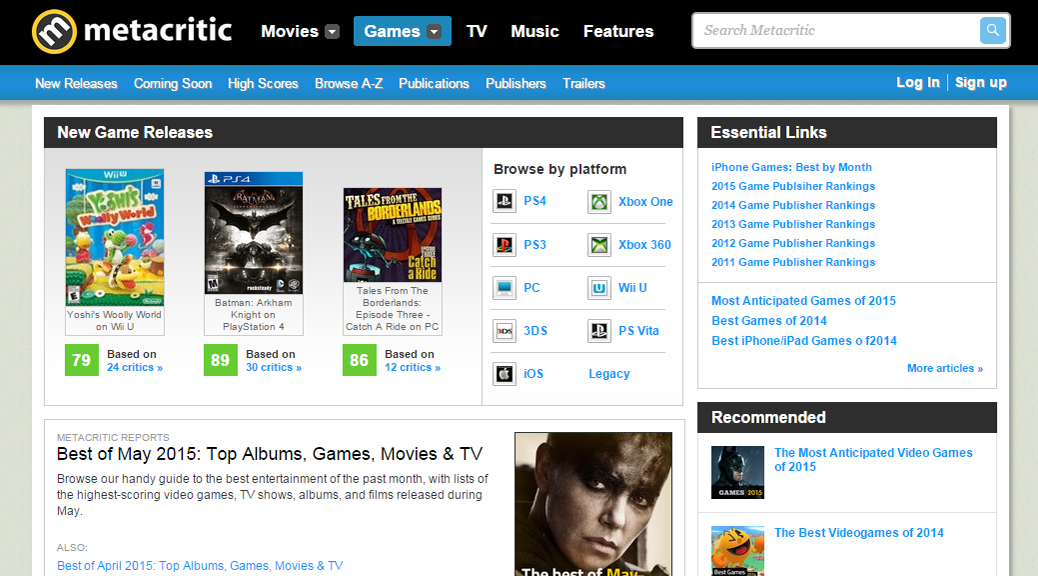 Metacritic, video games, reviews, scores, homepage