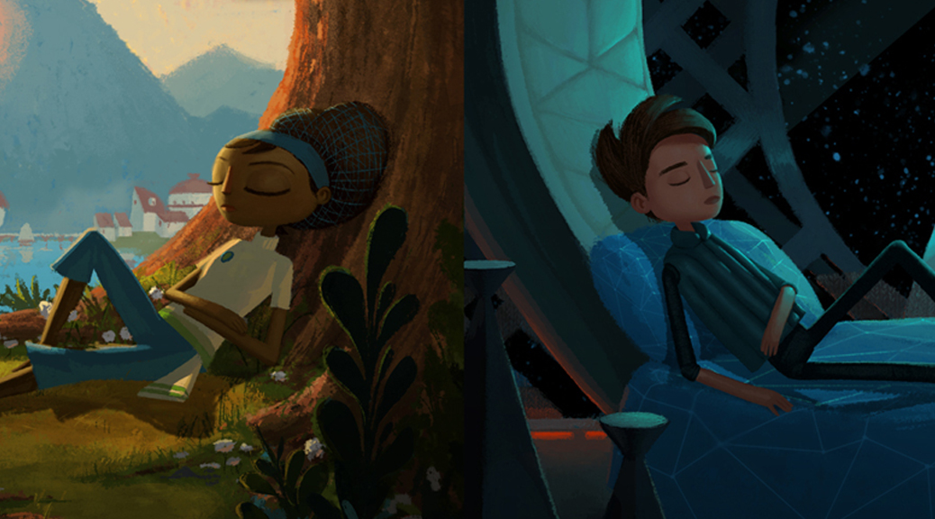 Broken Age, video game, Shay, Vella, worlds, space, countryside, asleep