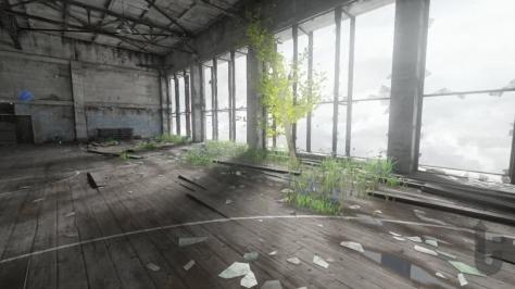Homesick, video game, window, shadows, tree, sports hall