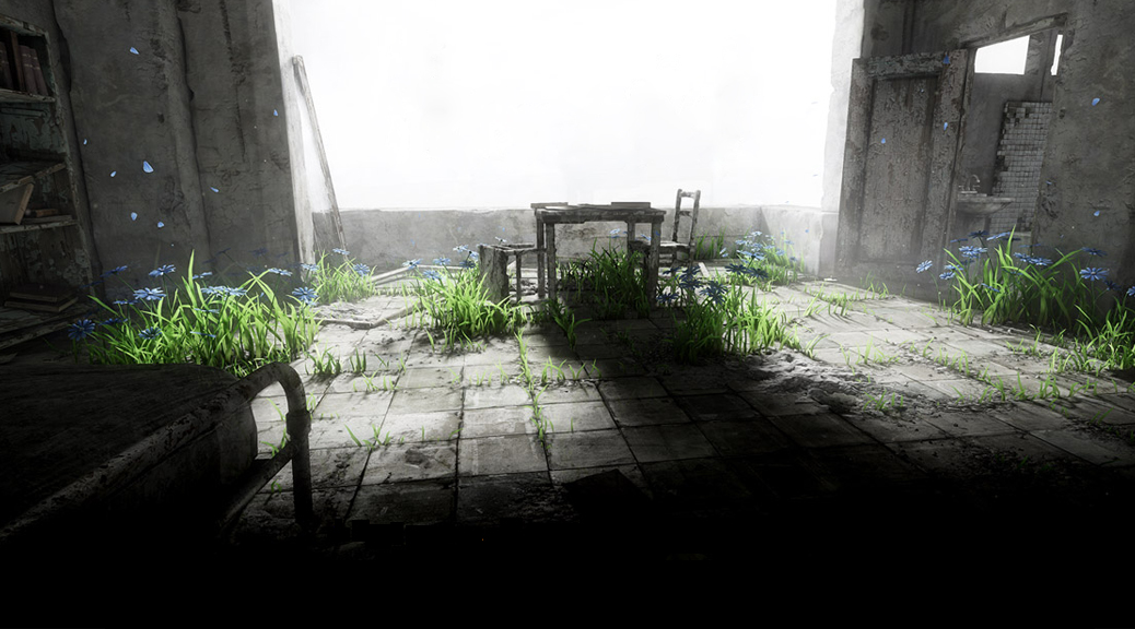 Homesick, video game, box art, window, table, chairs, grass, flowers, abandoned, old. petals