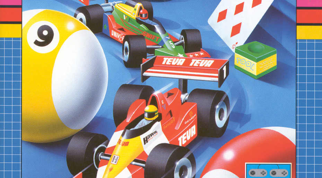 Micro Machines, video game, box art, snooker ball, playing card, cars, racing