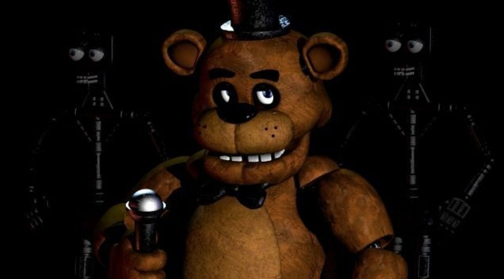 Five Nights at Freddy's, video game, box art, robots, bear, Freddy Fazbear, top hat