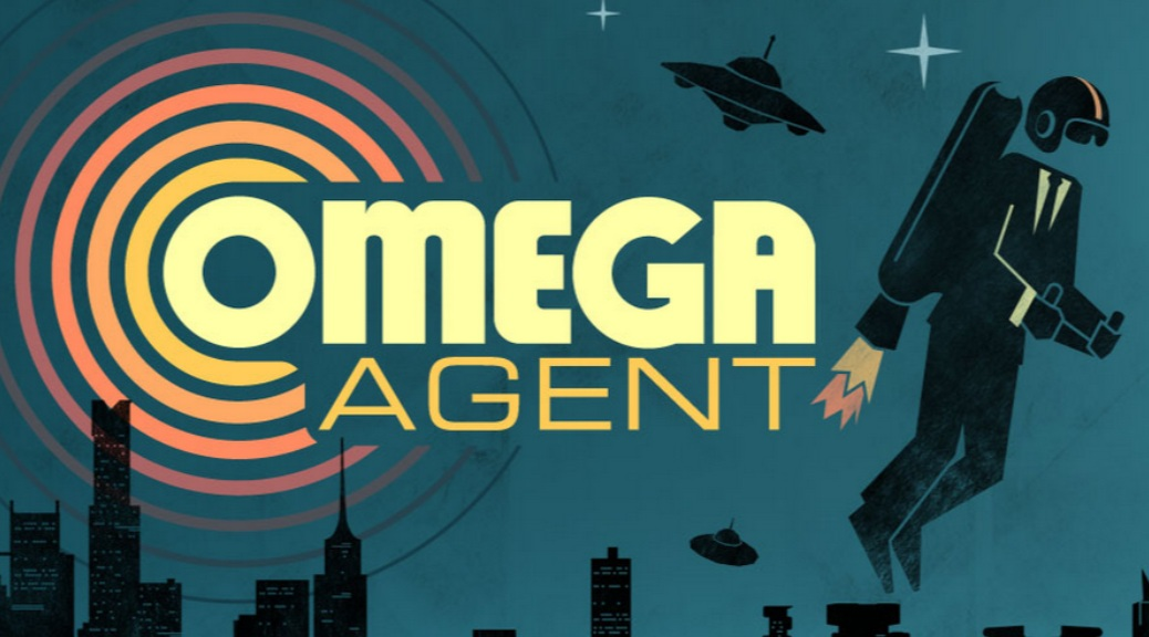 Omega Agent, video game, box art, spaceship, buildings, jetpack, agent