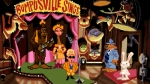 Sam & Max Hit the Road, video game,, Bumpusville, Sam, Max, yeti, stage, microphone, show