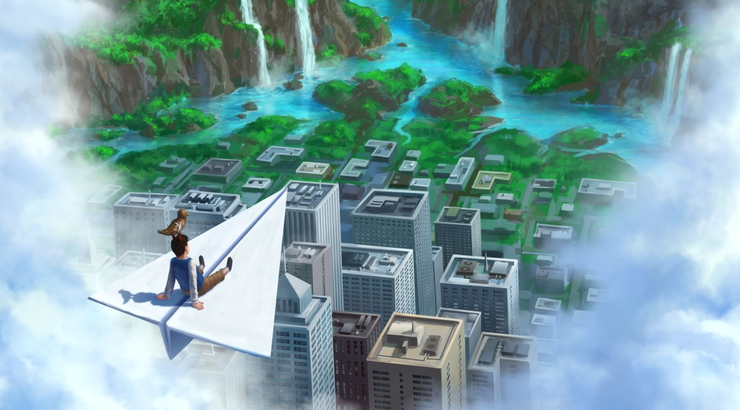 A Bird Story, video game, box art, clouds, paper plane, boy, bird, flying, landscape, city, skyscrapers, trees, waterfalls