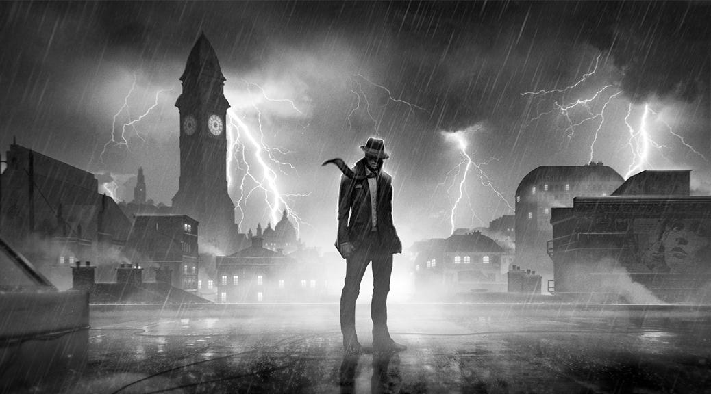Calvino Noir, video game, box art, film noir, black and white, rain, thunder, lightening, storm, London, detective, street