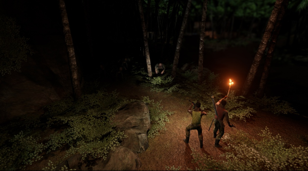 Congo: The Game, video game, flares, team, dark, shadows, forest, guns, trees