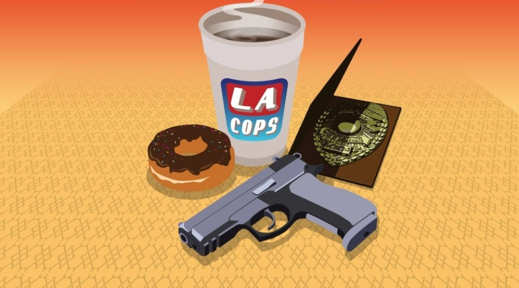 LA Cops, video game, box art, coffee, cup, doughnut, gun, police badge