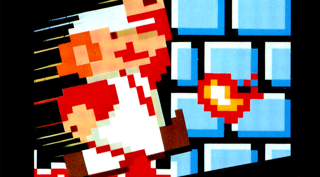 Super Mario Bros., video game, box art, Mario, pixelated, plumber, wall, jump