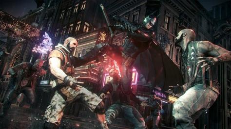 Batman: Arkham Knight, video game, Batman, night, street, thugs, fight