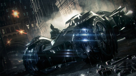 Batman: Arkham Knight, video game, Batman, Batmobile, Gotha,m, streets,, night