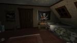 Gone Home, video game, bedroom, bed, rug, Jolly Roger, flag, desk