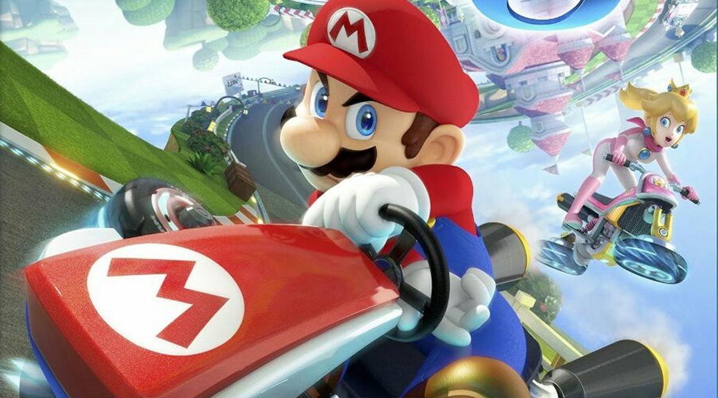 Mario Kart 8, video game, box art, racing, Mario, Princess Peach, race track, cars