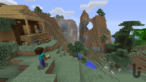 Minecraft, video game, pixels, blocks, Steve, mountains, trees, cabin, lake, wolves, view