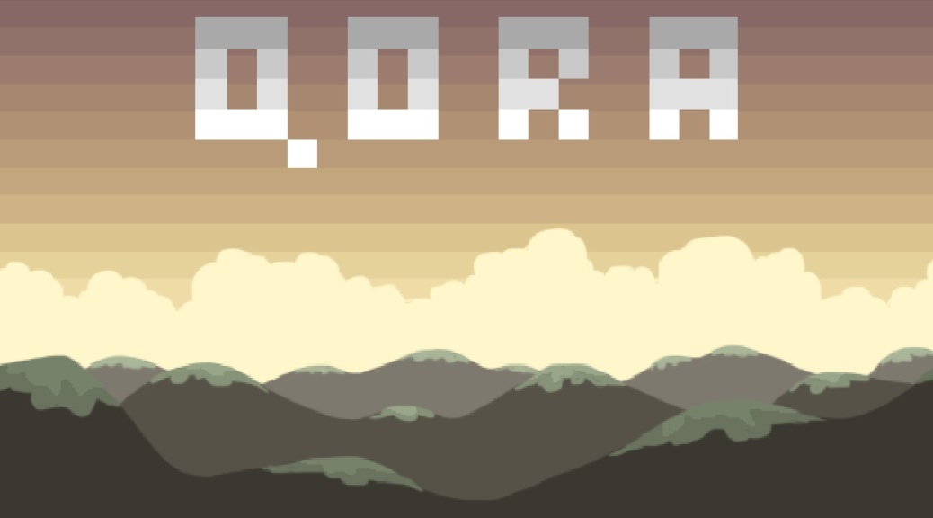 Qora, video game, box art, title, pixels, mountains, clouds, sky