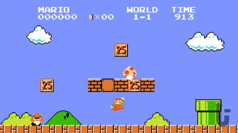 Super Mario Bros., video game, platformer, Mario, mushroom, jump, bricks