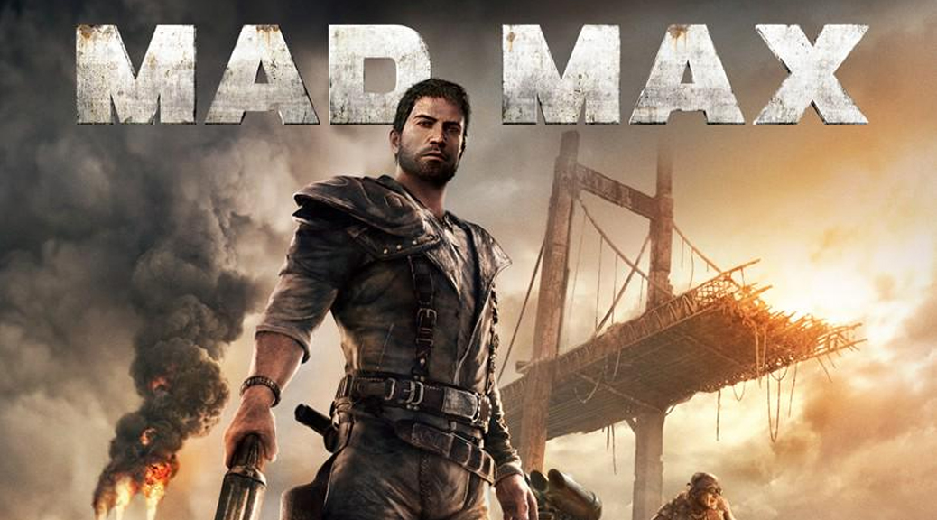 Mad Max, video game, title, box art, wasteland, bridge, guns