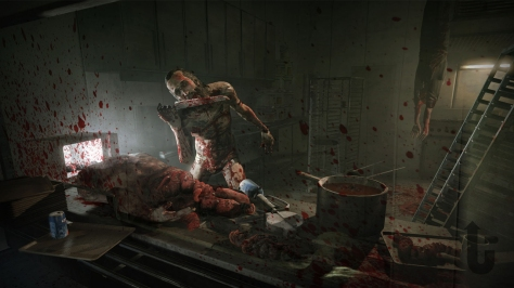 Outlast, video game, canteen, blood, guts, knife, body, hanging