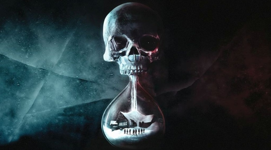 Until Dawn, video game, box art, skull, cabin, dark, sand timer