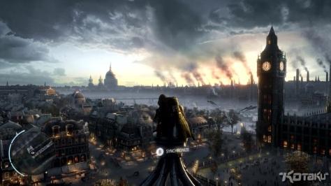 Assassin's Creed, Assassin's Creed Syndicate, video game, Kotaku, leaked screenshot, London, rooftops, skyline, Big Ben, tower, clock, sky, Assassin