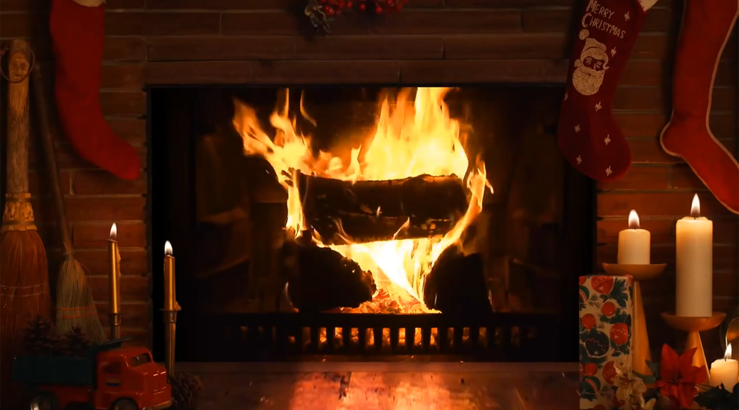 Christmas, fireplace, fire, logs, candles