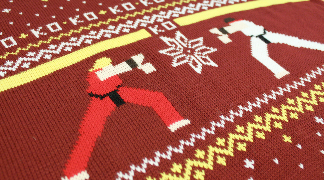 Christmas, video games, jumper, Street Fighter, Ryu, Ken, knitted, snowflake, red