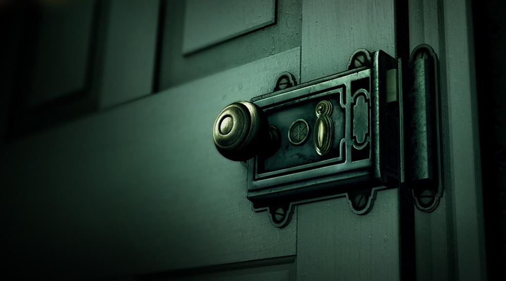 The Room, box art, video game, door, handle, knob, keyhole, dark