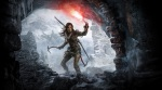 Tomb Raider, video game, box art, cave, cavern, entrance, flare, Lara Croft, pickaxe, snow, mountains, bow
