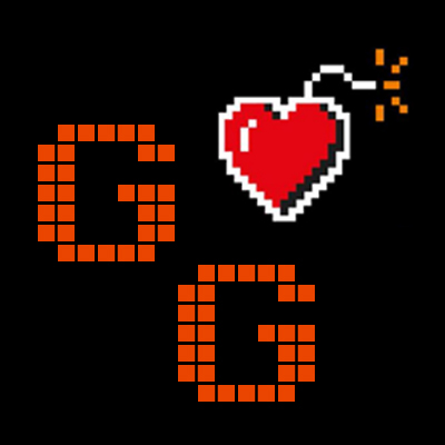Gamely Giving, logo, charity, GG, pixels, heart,. bomb