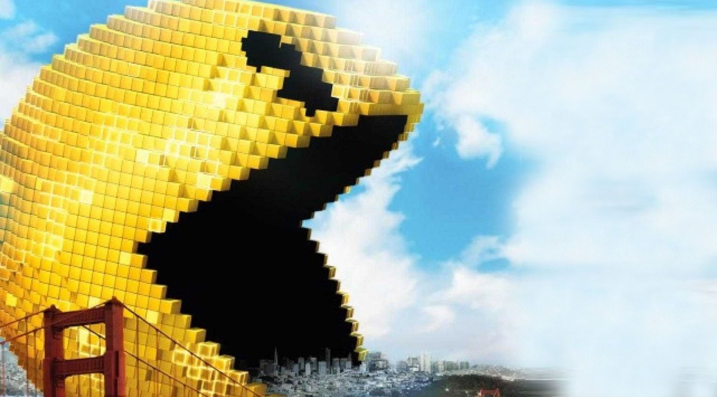 Pixels, film, box art, Pac-Man, sky, bridge, San Francisco