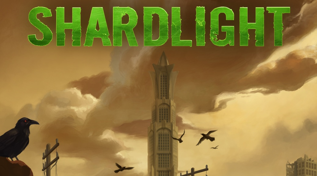 Shardlight, video game, box art, title, crows, sky, skycraper,clouds