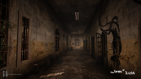 The Town of Light, video game, Volterra, asylum, hallway, doors, graffiti, shadows, dust