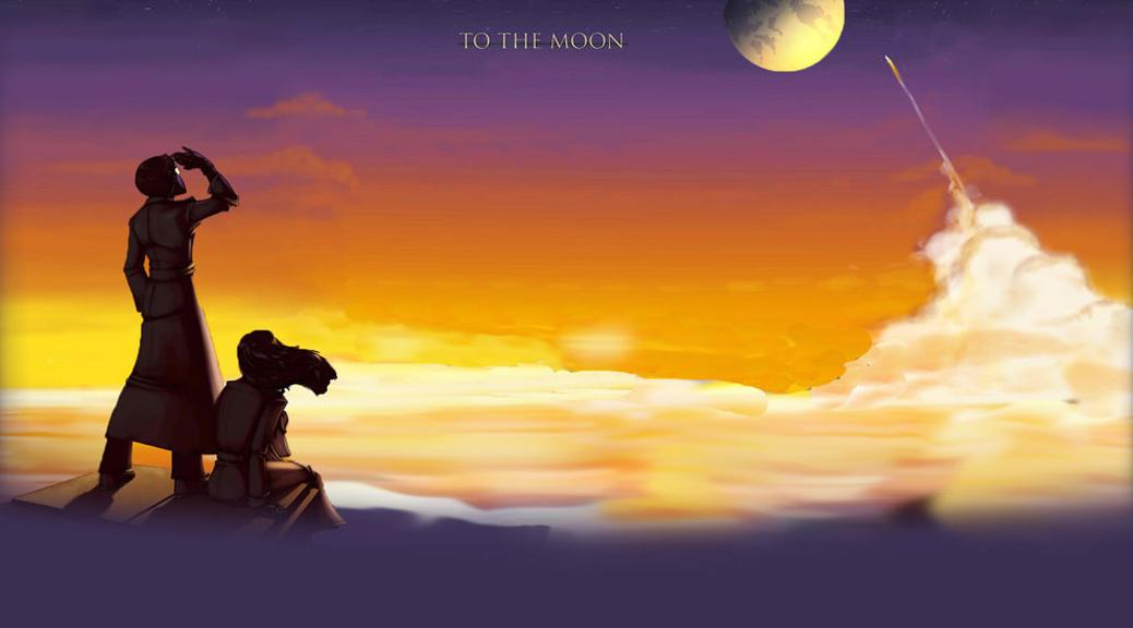 To The Moon, video game, box art, title, moon, sky, sunset, rocket, doctors, Eva Rosalene, Neil Watts, clouds