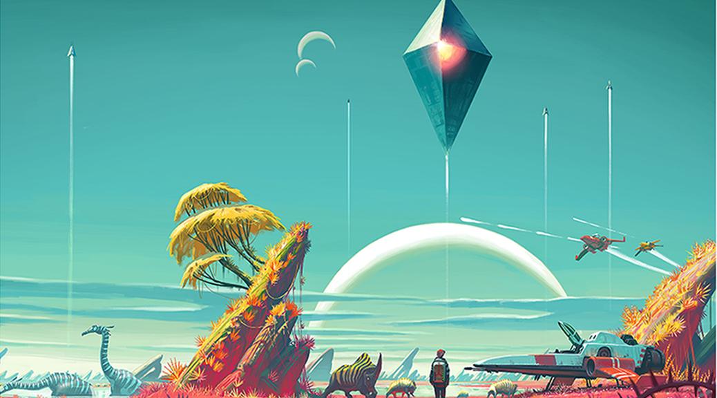 No Man's Sky, video game, box art, sky, UFO, dinosaur, trees