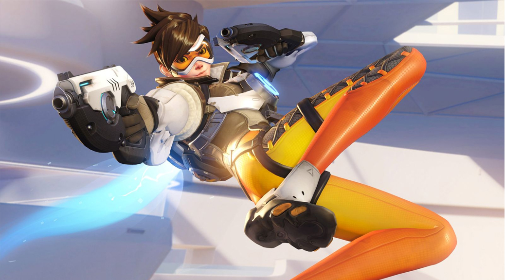 Overwatch, video game, box art, Tracer, gun